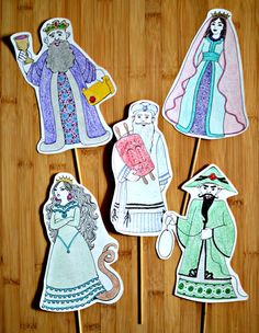 Purim Character Puppets - Coloring & Crafts - Jewish Kids