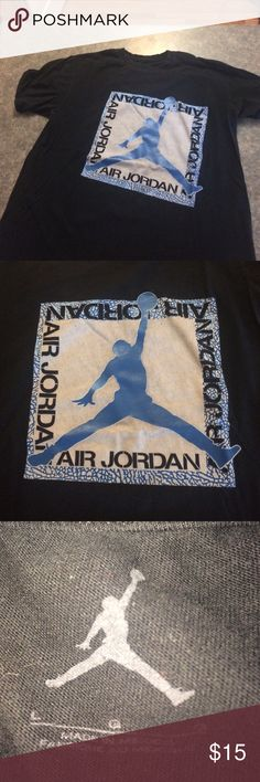 Black and Blue Jordan Tshirt L black tshirt with gray and blue design - material is still very soft and in good condition Jordan Shirts Tees - Short Sleeve