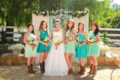 Bridesmaids with cowgirl boots, Tiffany blue and turquoise dresses Wedding Pics, Summer Wedding, Dream Wedding, Wedding Ideas, Wedding Bells, Wedding Stuff, Wedding Planning, Wedding Inspiration, Tiffany Blue Bridesmaid Dresses