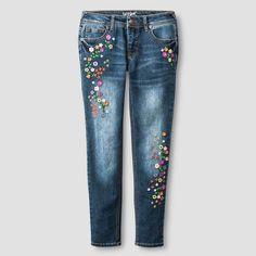 Girls' Floral Embroidered Skinny Jean Cat & Jack - Dark Wash 16, Girl's, Blue