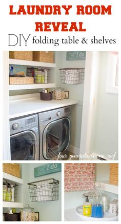 Budget laundry room with DIY folding table and shelves by Four Generations One Roof