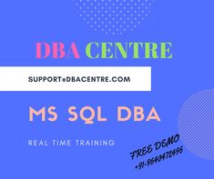 Hi, We are providing MSSQL DBA training in Hyderabad.Online and class room training. we provide Live project along with Training,Training will be 100% Real time. For more details call to 9949337995 www.dbacentre.com DBA CENTRE For course content click on below links: http://www.dbacentre.com/online-mssql-dba-training/ For FREE DEMO Contact us @ 9949337995.