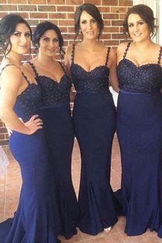 Dark Navy Bridesmaid Dress with Glittering Beads, Trumpet Bridesmaid Dress with Sweep Train, Unique Bridesmaid Dress