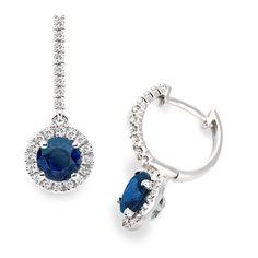 I love this Diamond and Blue Sapphire Hoop Earrings in 18k White Gold on Vashi.com. #vashi