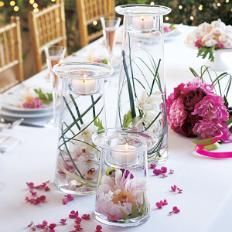 Quincenera, wedding, baby shower or birthday party centerpiece decoration idea. PartyLite Symmetry Pillar Candle Holder and Vase