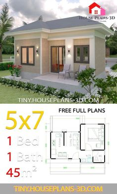 Gable Roof Design, House Roof Design, Simple House Design, Tiny House Design, Modern Tiny House, Tiny House Cabin, 1 Bedroom House Plans, Small House Floor Plans, Casas The Sims 4