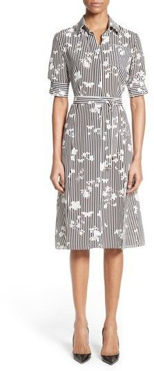 Altuzarra Women's Floral Stripe Silk Shirtdress
