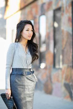 Shades of Grey :: Quilted leather & Wrap bodysuit : Wendy's Lookbook
