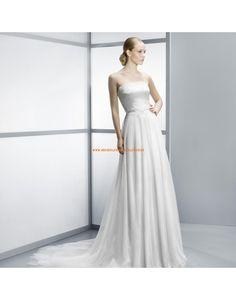 Schöne trägerlose A-linie Brautkleider aus Softnetz mit Spitze- Jesús Peiró