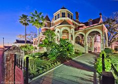 """Bought by W.L. Moody six days after the 1900 storm (reportedly for """"ten cents on the dollar""""), this imposing 28,000-square-foot limestone and-brick mansion has 32 rooms filled with opulent furnishings and heirlooms from one of Texas's most powerful families.    http://www.galveston.com/moodymansion/"""