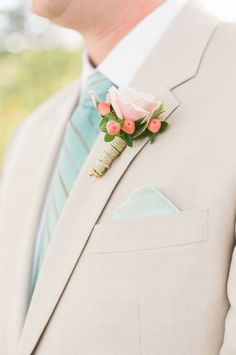 boutonniere (Floral Design: Sweet Annie Floral Design) - Nautical Coral + Mint Cape Cod Wedding by Ruth Eileen