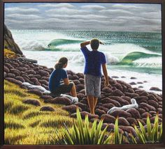 Surf Art Surfing Photos, New Zealand Art, Nz Art, Maori Art, Kiwiana, Surf Art, Contemporary Artwork, Beach Art, Unique Art