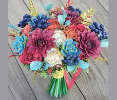 Nice Fall wedding bouquet clay flowers succulent d Bridal Bouquet Pink, Fall Wedding Bouquets, Fall Wedding Flowers, Flower Bouquet Wedding, Autumn Wedding, Bridesmaid Bouquet, Wedding Colors, Alternative Bouquet, Clay Flowers