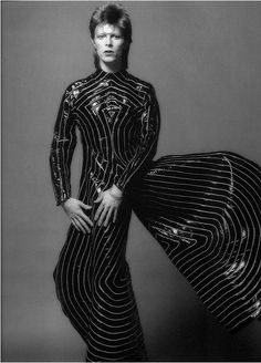David Bowie wearing a Kansai Yamamoto's suit designed for Ziggy Stardust Tour, 1972.