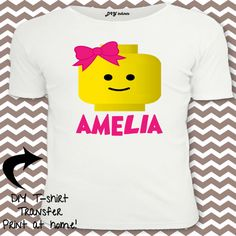 Girl Lego, Lego T-shirt, Lego Shirt, Lego Personalized Shirt, Lego Birthday Party on Etsy, $2.99