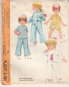 Vintage 70s Sewing Pattern TODDLER PAJAMAS by HoneymoonBus on Etsy, $8.99