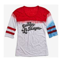 DC Comics Suicide Squad Harley Quinn Distressed Daddy's Lil Monster... ($15) ❤ liked on Polyvore featuring tops and t-shirts