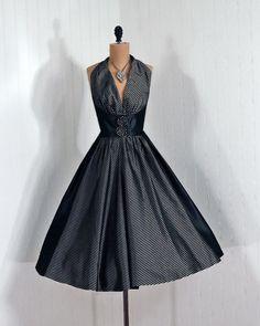 Cocktail Dress: 1950's, iridescent shimmer striped silk taffeta.