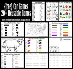 {free} Car Games! 20 reusable car games to keep toddler, preschool, kindergarten, and school aged kids entertained for family road trips!