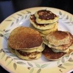 GAPS diet pancakes: 4 ingredients  BANANA PEANUT BUTTER PANCAKES  by Sheila    1 ripe banana  1/4 cup peanut butter  2 eggs  1/2 teaspoon baking soda    Mix all ingredients with a mixer. Spoon into hot buttered skillet and brown on both sides    Tip: Small pancakes are easier to turn.