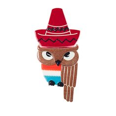 I'm Senor Sombrero. love thief by day. here to steal your heart. dancing owl by night. I'm the compadre with the hootiest hoot. and the perkiest beak to boot! Resin Jewelry, Jewellery, Quirky Gifts, Girls Jewelry, Owls, You And I, Brooches, Dancing, Christmas Ornaments