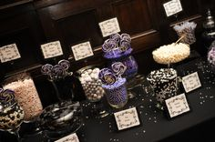 Wedding Reception Candy Bar Purple White and Black. Dark and Fancy!!                                                                                                                                                                                 More