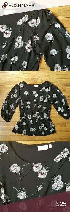 Deletta dandelion floral romantic boho top Tiered diagonal ruffle front.  Long sleeve with cut out. Elastic waist. Cute black white red dandelion print. Measurement 23.5 long, bust 19.5 waist 13-16.5. Anthropologie Tops Blouses
