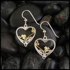 Celtic Heart with Shamrocks and Emeralds Earring