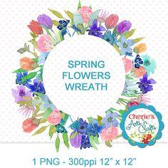 Watercolor Flowers Spring Wreath  PNG Clip Art  Designer