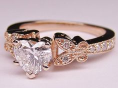 Rose Gold Heart Shape Diamond Butterfly Vintage Engagement Ring & Matching Wedding Band