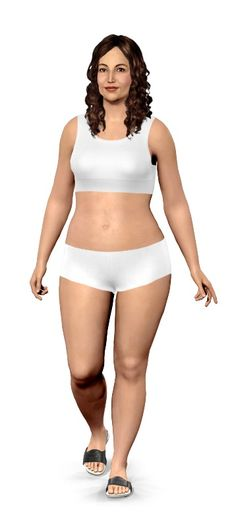 Virtual model. Really neat. You enter in your current weight, and change skin tone, hair color, etc. Then on the other model you enter in your goal weight, and you can see the difference!