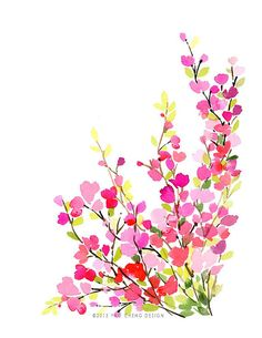 Springtime Watercolor Art Print by YaoChengDesign on Etsy, $12.00