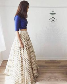 Bedazzle in this simply chic chiffon jamawar lehenga/ball gown skirt paired with indian rawsilk royal blue cropped blouse. Lehenga will have side Indian Attire, Indian Wear, Bride Indian, Indian Weddings, Choli Designs, Lehenga Designs Simple, Moda Indiana, Lehnga Dress, Gown Skirt