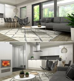 Finnlamelli Hirsitalo, paritalo, olohuoneen 3D-stailaus/ tummanharmaa sohva, Secto octo, nahkainen lepakkotuoli, valkovahattu hirsipaneeli, Ellos tanger matto/ JWR-remontit Oy/ 3D-sisustus Tilanna
