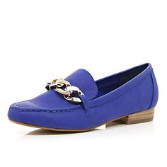 Bright blue chain front loafers - brogues / loafers - shoes / boots - women