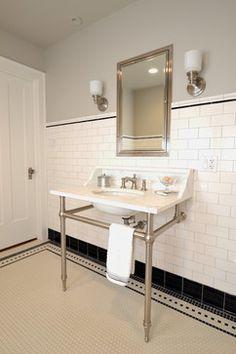 Custom washstand, tile, Benjamin Moore Rodeo