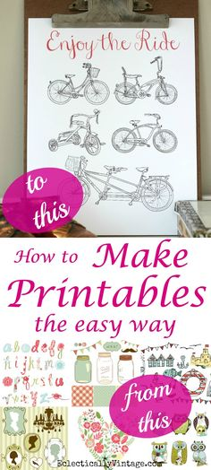 How to Create Printables the Easy Way - perfect for printables, scrapbooks, invitations, banners - they sky is the limit! Plus a great source for free graphics! eclecticallyvintage.com