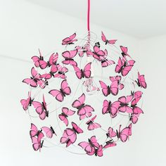 *We recommend the XL size for spaces bigger than 13 x 13 feet, high ceilings, or rooms with no other (or just a few) decoration, but you ALWAYS have the last word ;)* PROPERTIES: Hanging lamp made of cloth wrapped pink power cord, silver aluminum wire, lamp holder and ceiling