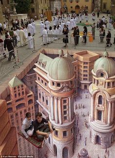 The amazing 3D chalk drawings of the street artist Kurt Wenners (12 pics)