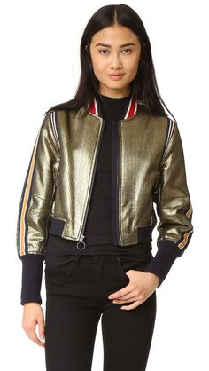 ¡Cómpralo ya!. Bcbgmaxazria Metallic Baseball Bomber Jacket - Gold. Multicolor knit stripes embellish this pleated BCBGMAXAZRIA moto jacket. Zip placket and hidden zip front pockets. Ribbed edges. Lined. Fabric: Lamé. Shell: 47% polyester/38% cotton/15% metallic. Lining: 67% cotton/30% nylon/3% spandex. Dry clean. Imported, China. Measurements Length: 19in / 48cm, from shoulder Measurements from size S. Available sizes: L , chaquetabomber, bómber, bombers, bomberjacke, chamarrabomber, ves...
