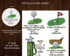 Golf Quotes Stitch en een hoepel Golf citaten Mini patroon door PinoyStitch - Funny quotes for your family or friends who love golf! Stitch them today for a weekend project and finish on a 4 inch hoop. Counted Cross Stitch Patterns, Cross Stitch Charts, Cross Stitch Embroidery, Cross Stitching, Mini Cross Stitch, Modern Cross Stitch, Golf Quotes, Funny Quotes, Dmc Floss