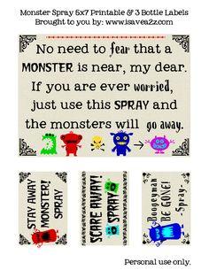 Monster Go Away Spray FREE PRINTABLE!