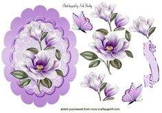 LILAC MAGNOLIAS IN A LACE SCALLOPED FRAME on Craftsuprint designed by Nick Bowley - LILAC MAGNOLIAS IN A LACE SCALLOPED FRAME, Makes a pretty card, lots of other colours to see - Now available for download!