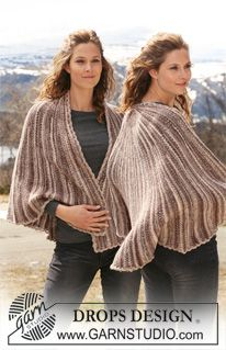 "Knitted DROPS shawl in garter st in ""Fabel"". ~ DROPS Design"