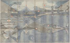 Bathing Constellation, Dusk  Graphite, colored pencil, ink, and copper leaf on antique ledger book pages. 54.25 x 66.5
