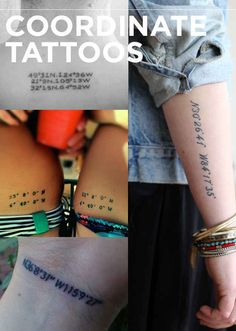 Coordinate Tattoos The 13 Kinds Of Tattoos We All Wanted In 2013 Couple Tattoos, Love Tattoos, Body Art Tattoos, New Tattoos, Tatoos, Piercing Tattoo, Piercings, Coordinates Tattoo, Tattoo Feminina