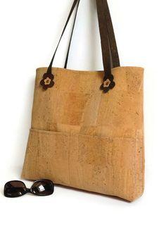 Cork Bag Natural Ecofriendly Large Shoulder Bag by MyCottonHouse
