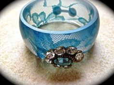 Something Blue #Vintage Bangle-Wide Cuff Bracelet-Resin Lace Turquoise Bracelet-Bridal Maid of Honor #Wedding Jewelry- Stack Cuff Assemblage   This beautiful something blue v... #jewelry #christmas #gifts #etsy
