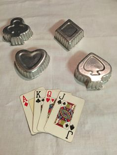 Vintage Cookie Cutters - Hearts, Spades, Diamonds, Clubs, 1950s by JustClickThreeTimes on Etsy