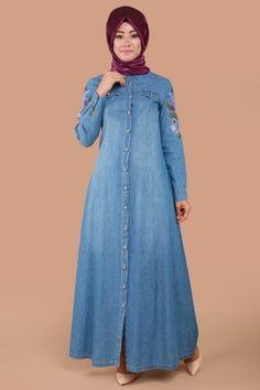 Kolu İşli Kot Elbise Ferace MSW8146-S Açık Kot - Thumbnail